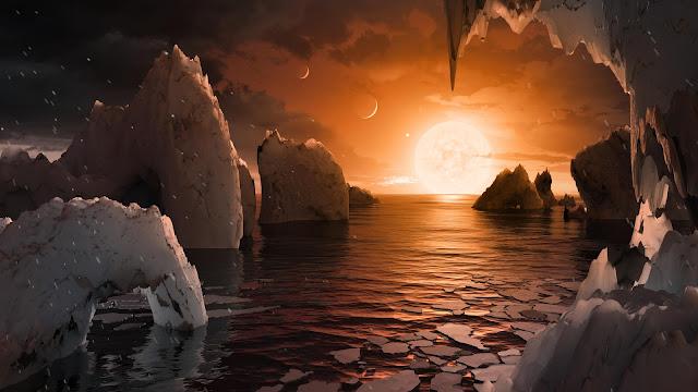 Mô phỏng quang cảnh từ một trong bảy ngoại hành tinh vừa được phát hiện trong hệ hành tinh TRAPPIST-1. Hình ảnh: NASA/JPL-Caltech.