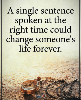 A Single Sentence that Saved my Life - Click on the Image -