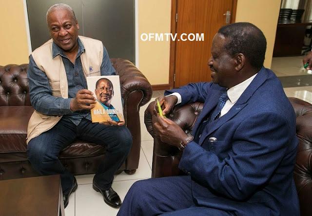 Rt Hon Raila Odinga (Left) met former Ghana President H.E. John Dramani Mahama (Right)