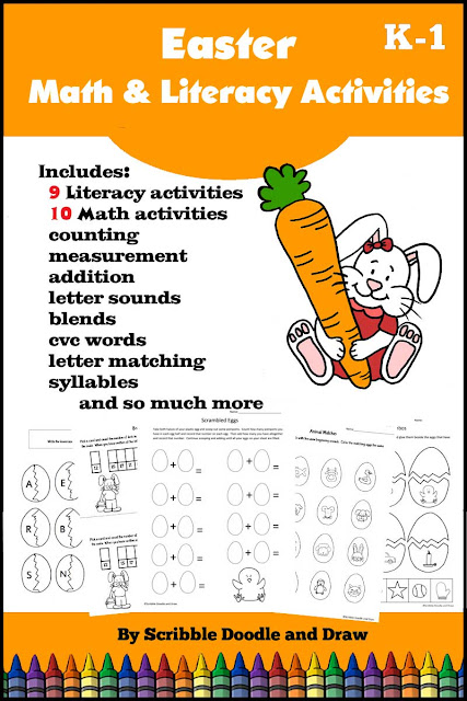 Easter math and literacy printables and centers for kindergarten