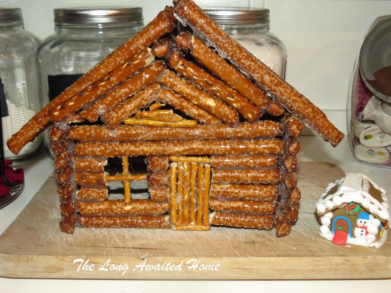 The Long Awaited Home Gingerbread House Aka Pretzel Log Cabin