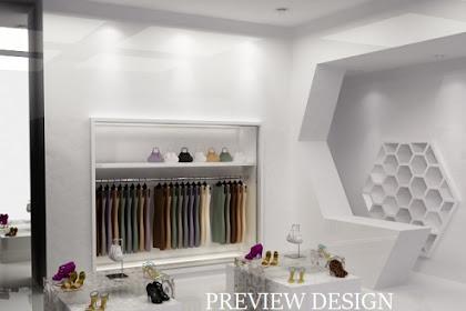 Preview desain 3d interior butik toko sepatu baju tas wanita unik menarik dan modern