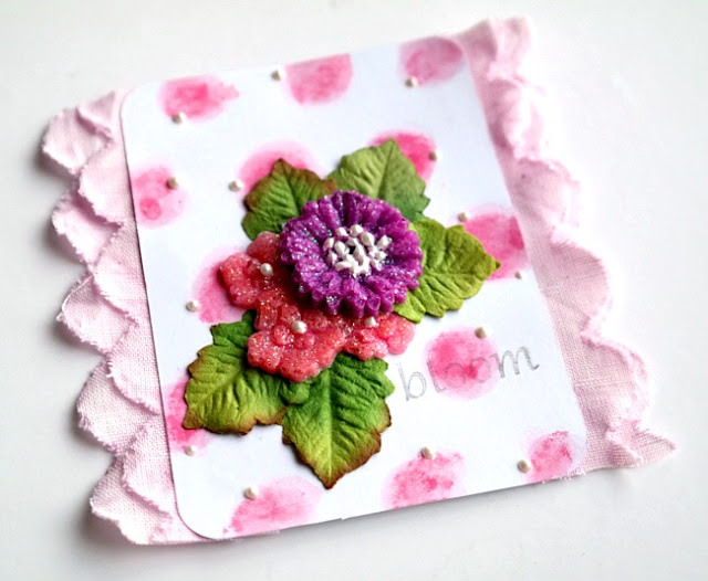 Bloom Card with Dried Glass Bead Glitter Gel Embellishments by Dana Tatar