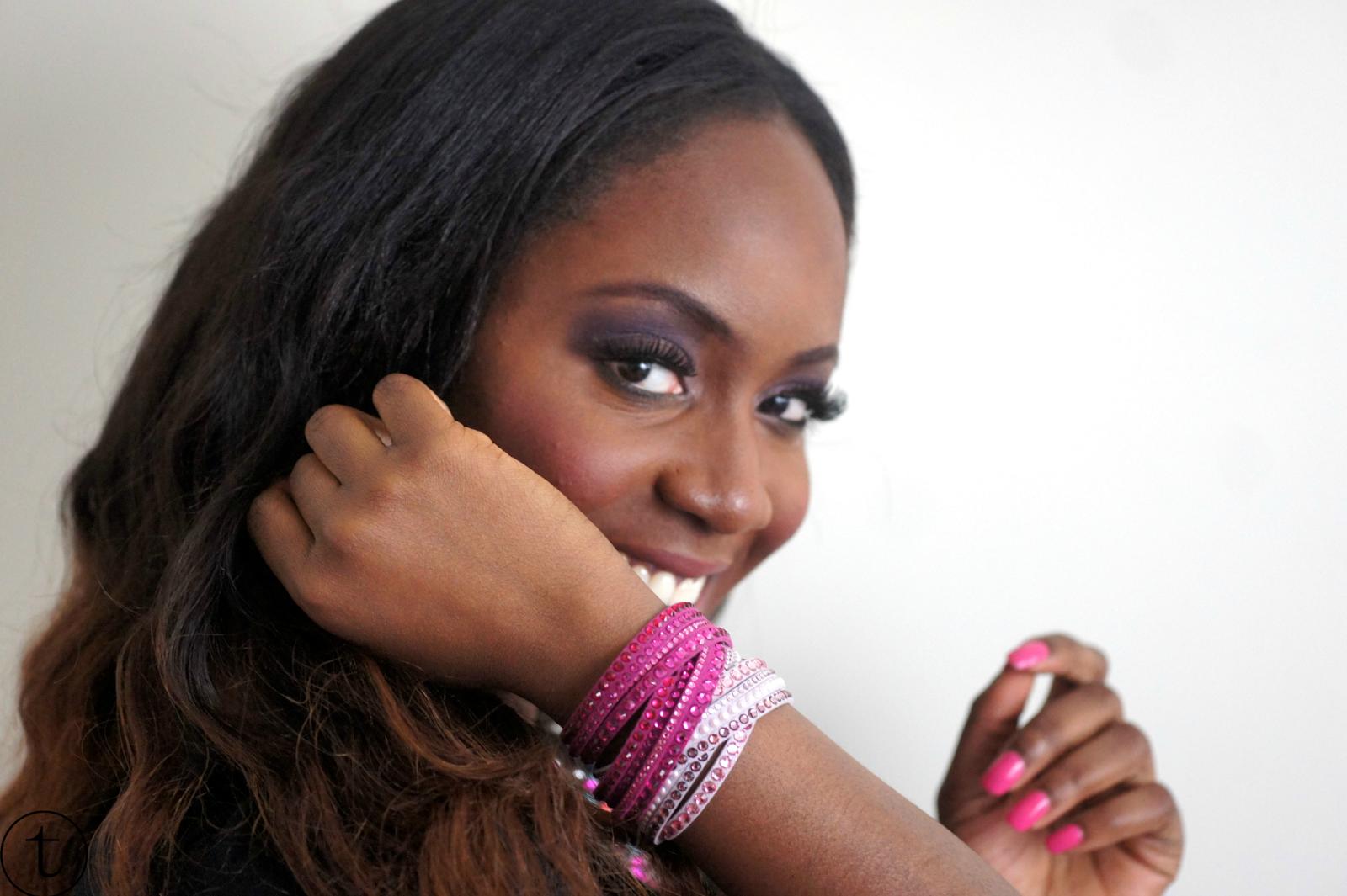 pink swarovski slake bracelet