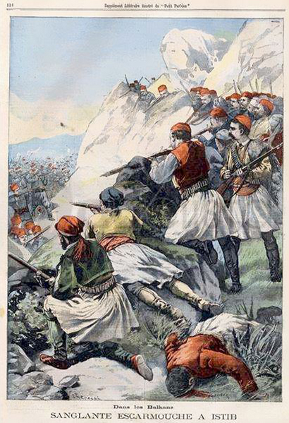 Albanians firing at Turks in Istib