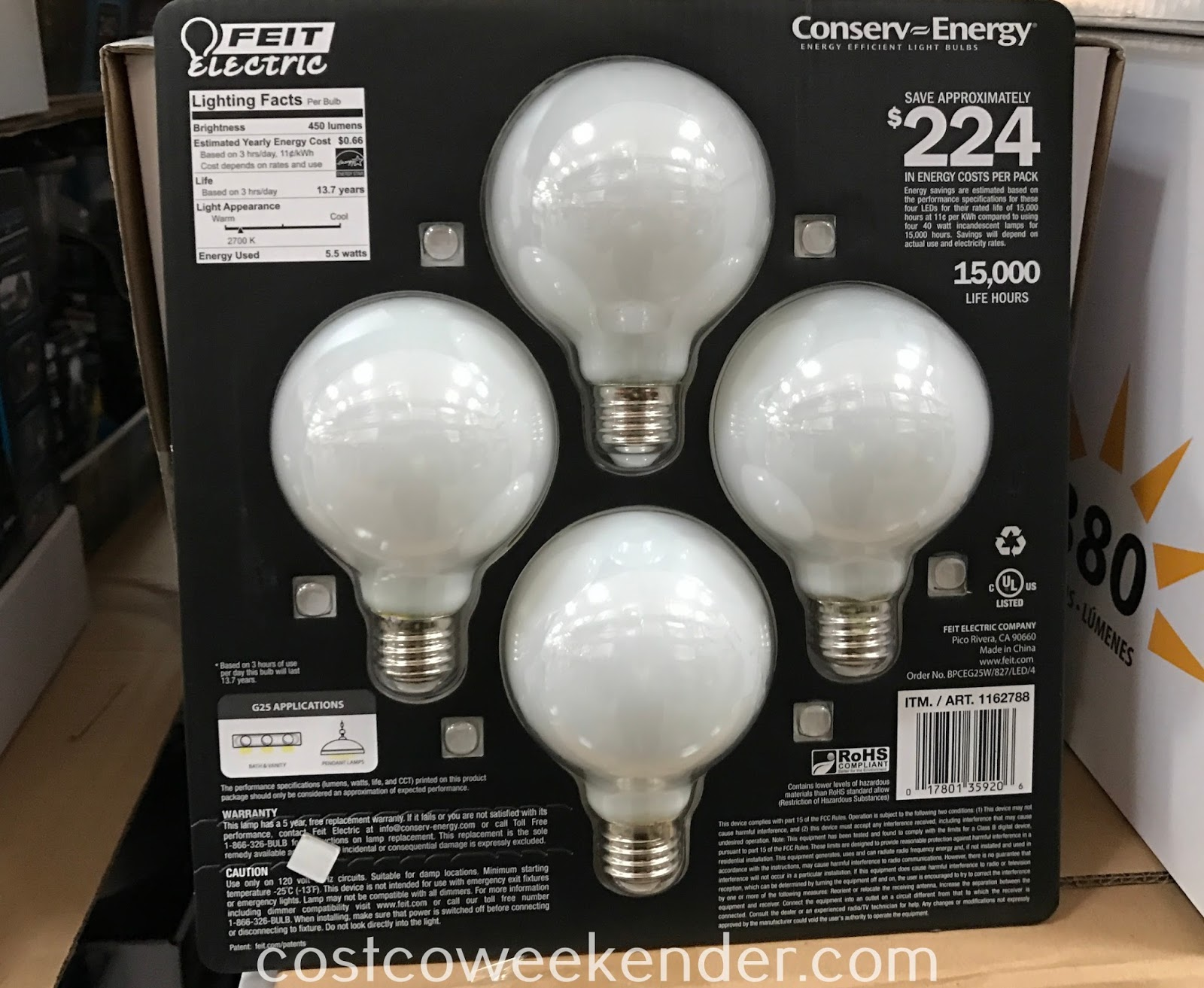 Costco 1162788 - Feit Electric Globe Frosted LED Bulbs: practical and will save you money in energy costs