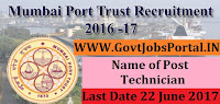 Mumbai Port Trust Recruitment 2017– Technician