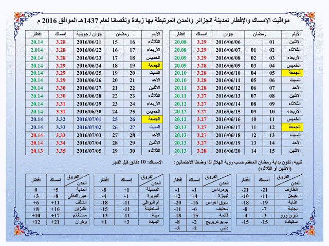مواقيت الامساك و الافطار لرمضان 2016 للجزائر العاصمة  و المدن المرتبطة بها وهي  :