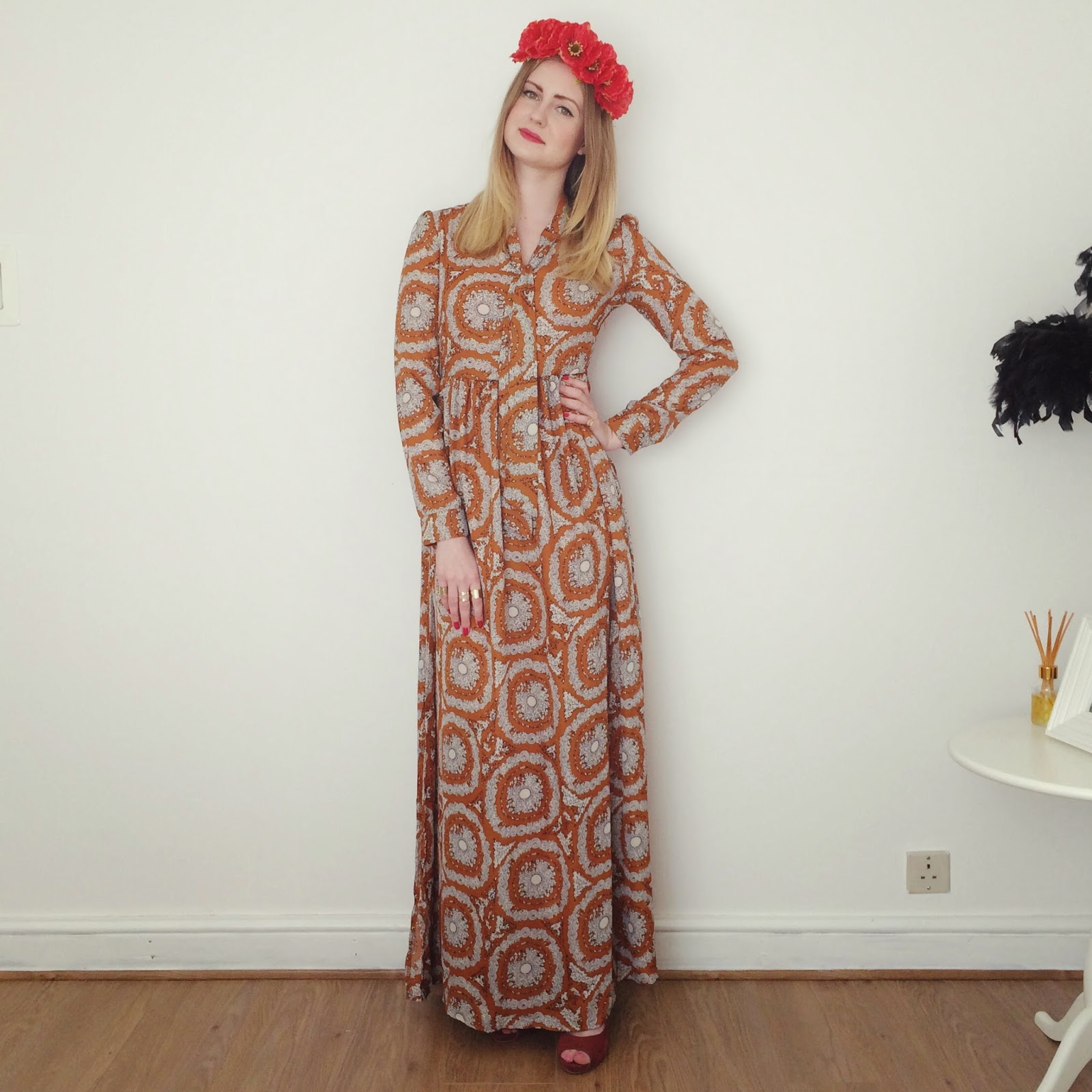 FashionFake, fashion bloggers, 70s maxi dress, 70s trend SS15