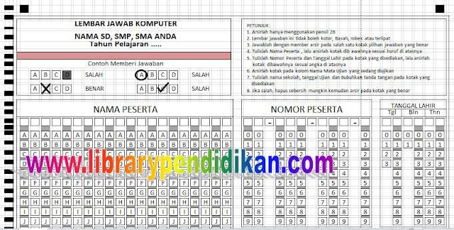 Download LJK (Lembar jawaban Komputer) Format Excel Bisa Di Edit Untuk SD/MI, SMP/ MTs, SMA, SMK, MA