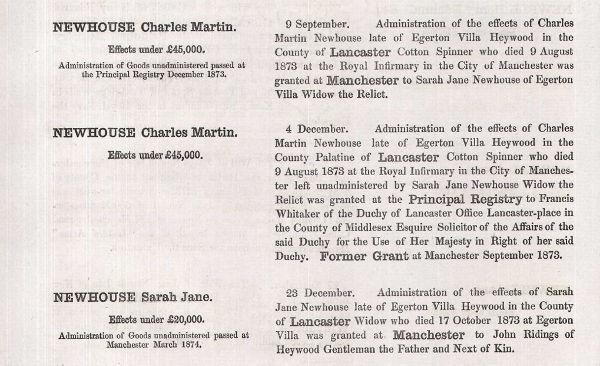 Notice of the Wills of Charles and Sarah Newhouse