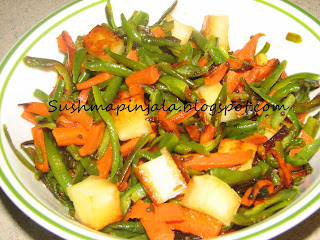 Beans Carrot fry with Paneer