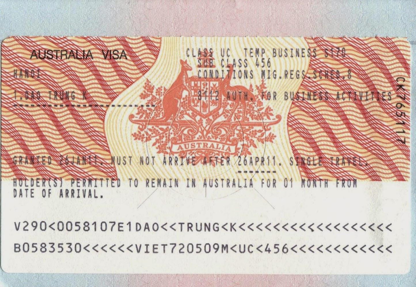 Visa là gì? Visa Úc
