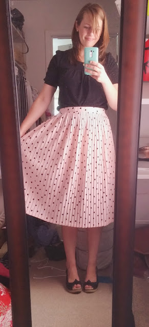 Polka dot pleated midi-skirt, Pink polka dot skirt, pleated midi skirt
