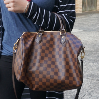 crook of arm Louis Vuitton Damier Ebene 30 speedy bandouliere | AwayFromTheBlue