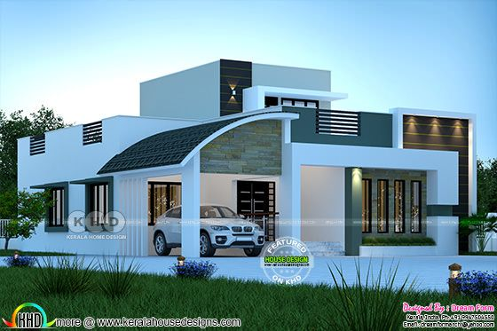 Front elevation rendering of mixed roof single floor home