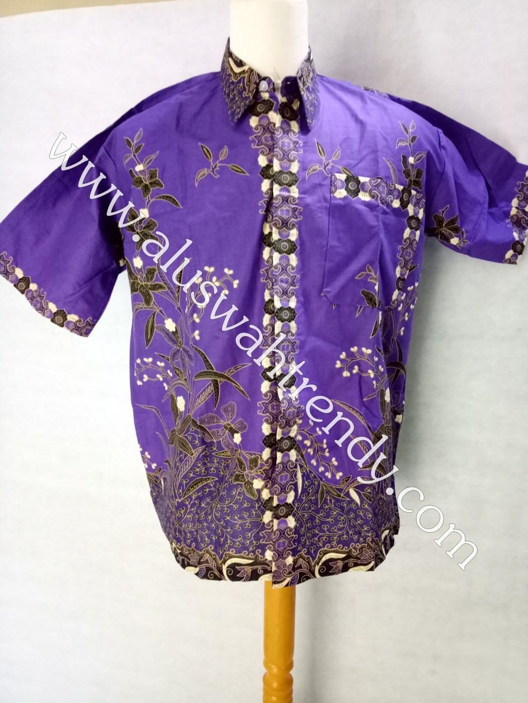 Kemeja Batik Lengan Pendek 017 Ungu Kebiruan