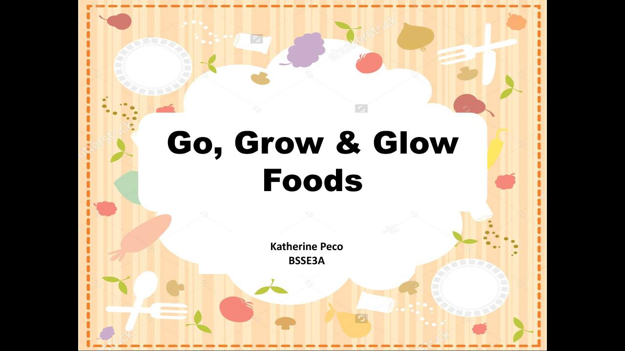 go grow and glow foods Go glow grow is a nutrition curriculum developed for preschool children in conjunction with the book go glow grow: foods for you, children learn about healthy eating, exercising and the importance of hand washing.