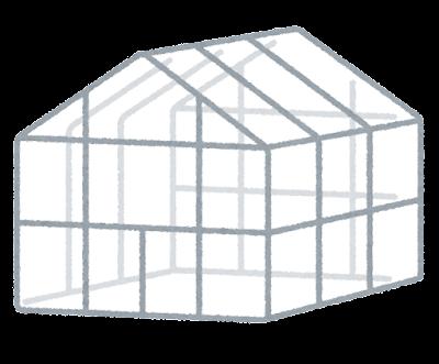 温室のイラスト(切妻屋根型)