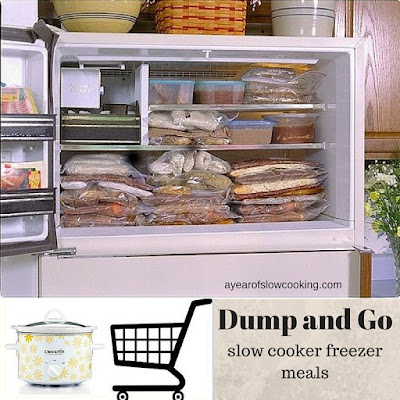 An entire month worth of Dump and Go Freezer meals -- have a fully stocked freezer in one afternoon and then have dinner each night for a whole month! NICE!