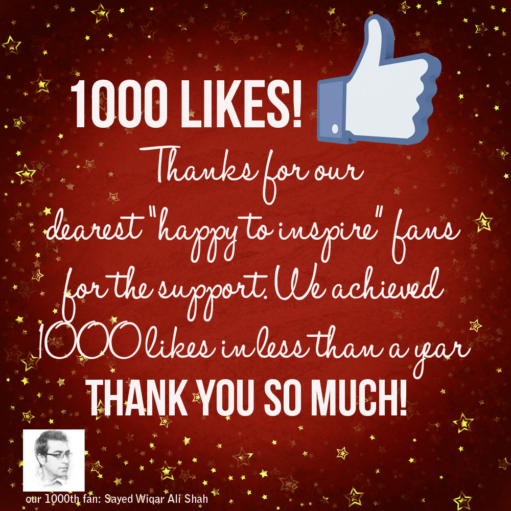 Likes Quotes On Facebook: Happy To Inspire: Our Journey: Happy To Have 1000 Likes