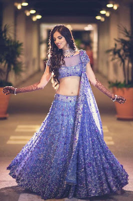 Beautiful Indian Bride Looking Stunning In Purple And Blue Lehenga.