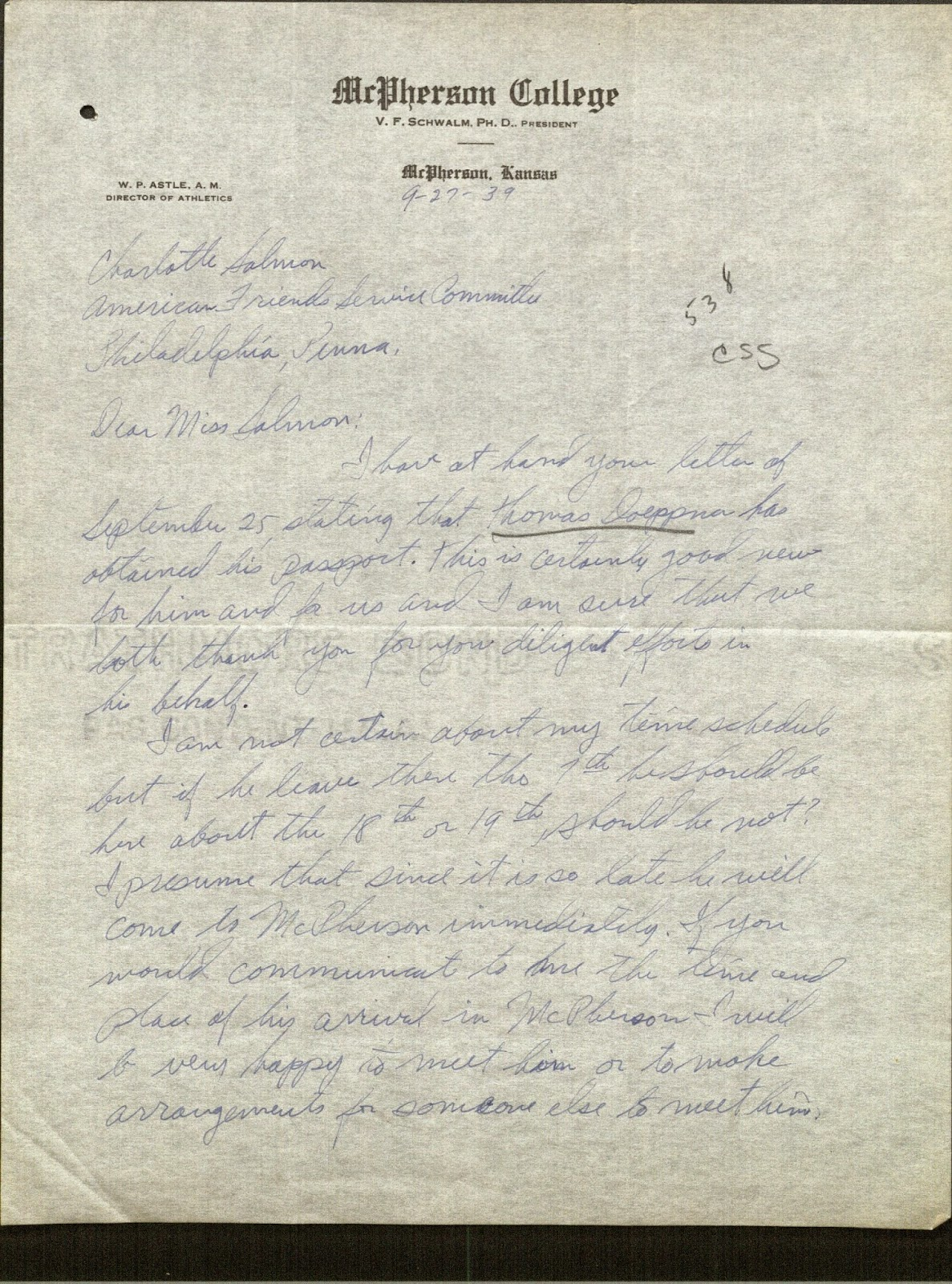 We're Not in Kansas Anymore: September 27, 1939: Hospitality