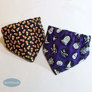 Glow in the Dark Halloween Dog Bandanas, Candy Corn