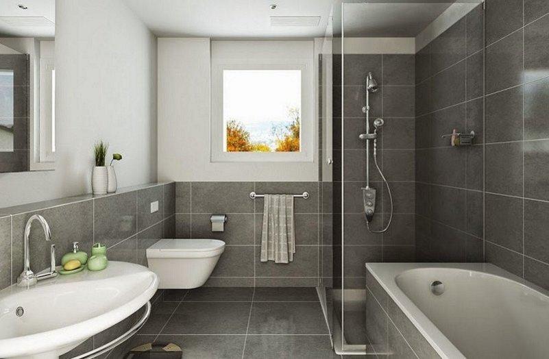 motif keramik lantai kamar mandi terlihat minimalis