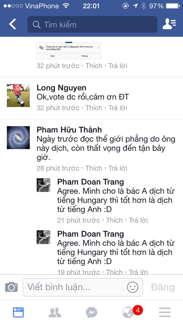 """Bình luận vè bài viết bàn về trình độ dịch giả Nguyễn Quang A , fbker Chau  Trinh Buu ·chia sẻ: """"Q A là tiến sĩ về điện tử nhưng không đóng góp được ..."""