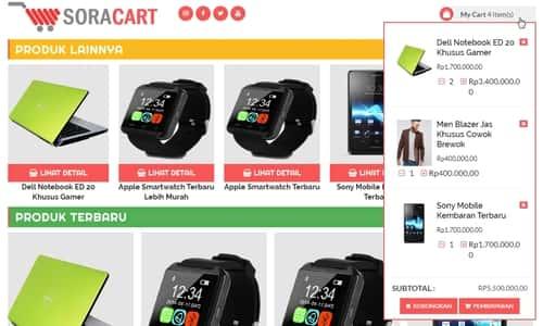 Template Sora Cart Toko Online Dengan Mata Uang Rupiah, Whatsapp, dan Email