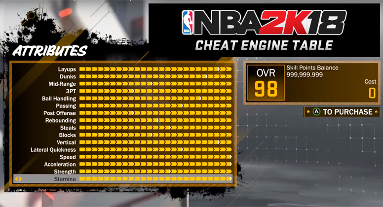 NBA 2K18 Cheat Engine Table Steam