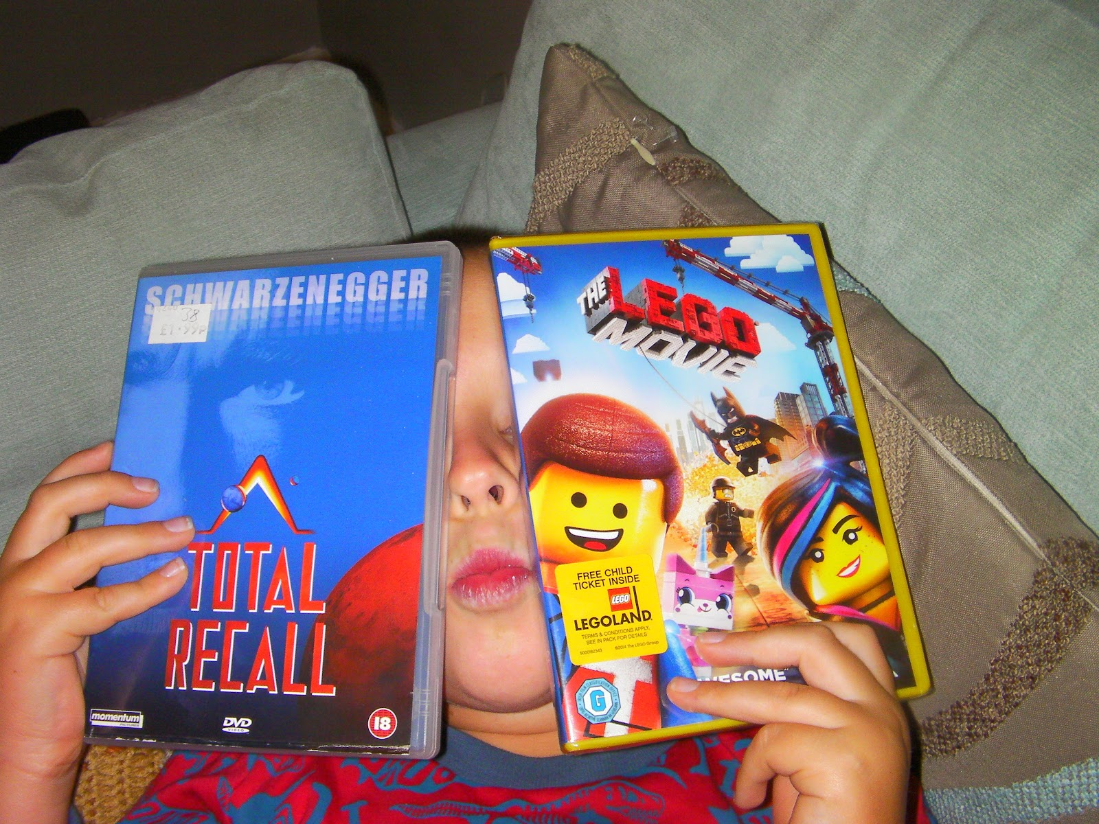 schwarzenegger in total recall and the lego movie dvds