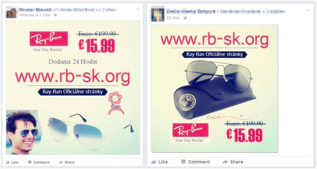Esempi della falsa pubblicità dei Ray-Ban su Facebook
