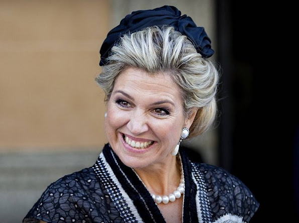 Queen Maxima wears Claes Iversen Fancy Dress, Jimmy Choo shoes