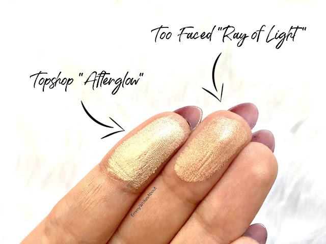 too faced ray of light swatch, topshop afterglow swatch