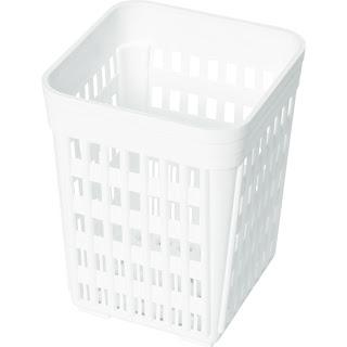 Cos pentru tacamuri rectangular, din plastic alb 110x110x(H)140 mm