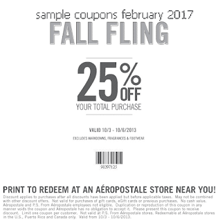 free Aeropostale coupons february 2017