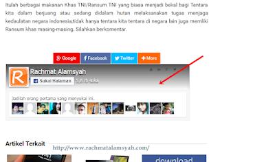 Cara pasang Fanpage Facebook dibawah Postingan Blog