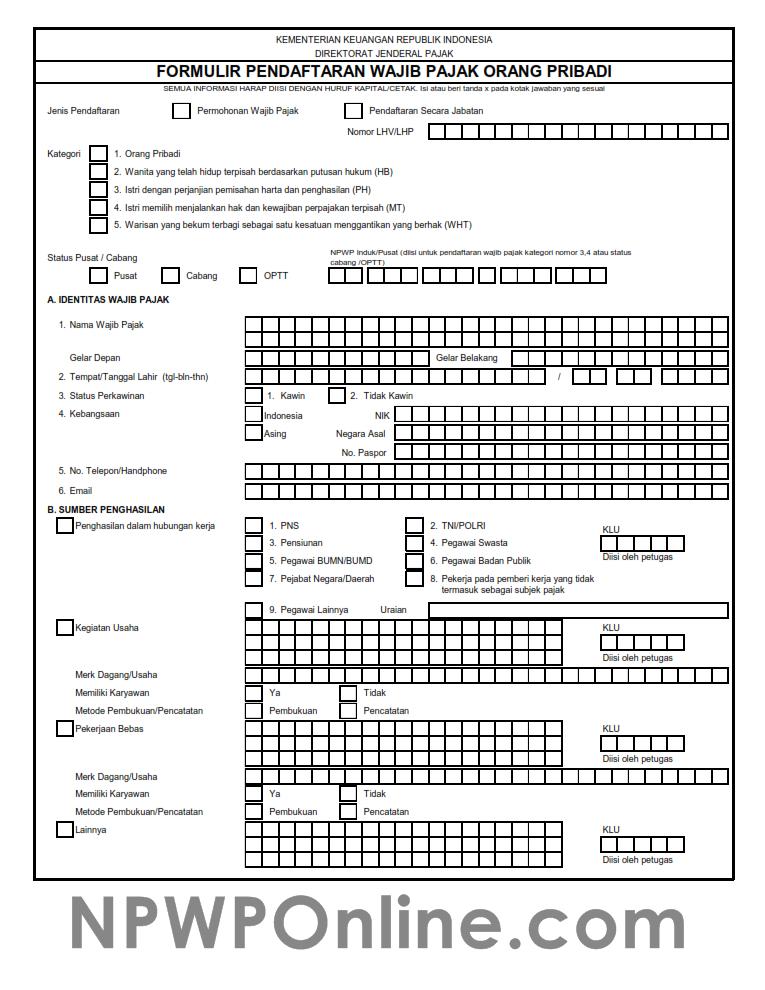 Formulir Pendaftaran Npwp Pribadi Format Excel Dan Pdf