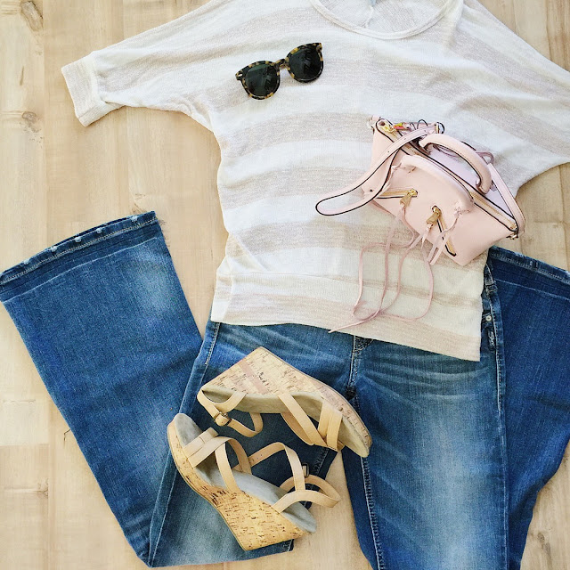 70s outfit idea flare jeans wedges pink fringe cross body bag