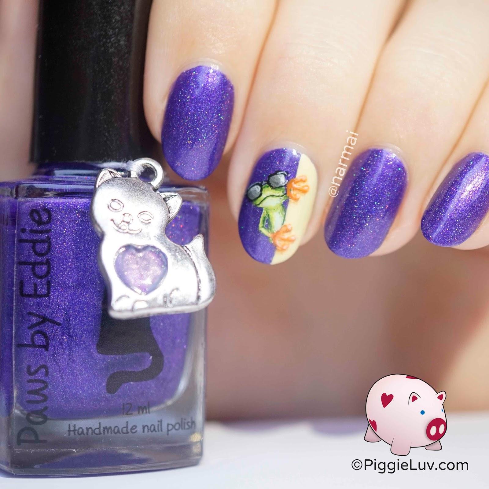 Frog Nail Art: PiggieLuv: Freehand Cool Frog Nail Art