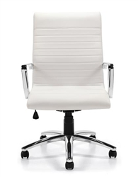 White Leather Ribbed Back Office Chair at OfficeAnything.com