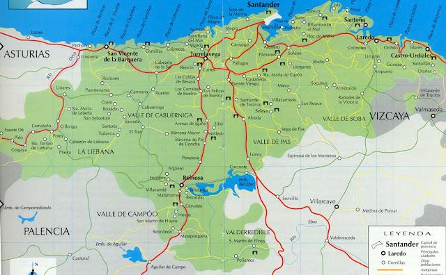 Mapa de Cantabria, España