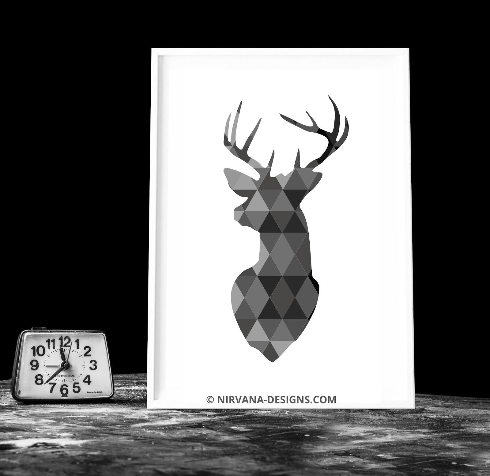 Black And White Deer Art Print Home Decor