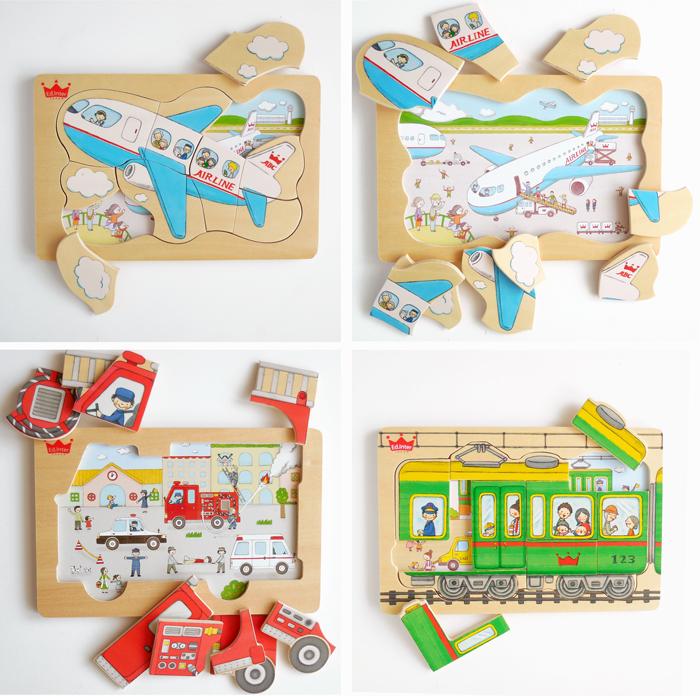木のパズル、おもちゃ、消防車、飛行機、電車、イラスト杉田香利