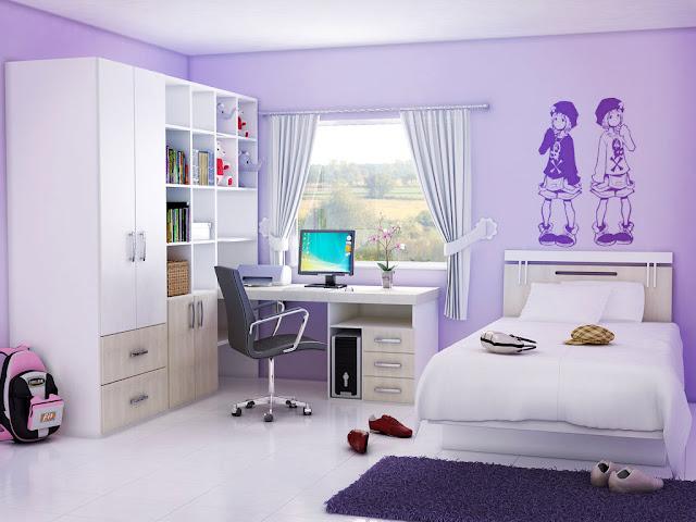 chambre fille mauve - chambre de fille