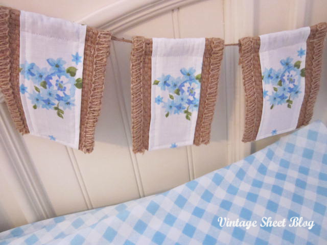 Floral Burlap Bunting Vintage Sheet Blog Treasure Hunt Thursday From My Front Porch To Yours