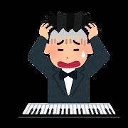 不調な音楽家のイラスト(男性)