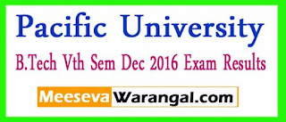 Pacific Academy Of Higher Education and Research University B.Tech Vth Sem Dec 2016 Exam Results